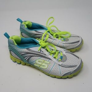 Womens White Yellow Sketchers Running Shoes Size 8